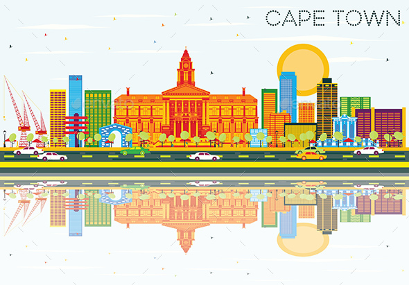 Cape Town Skyline with Color Buildings, Blue Sky and Reflections - Buildings Objects