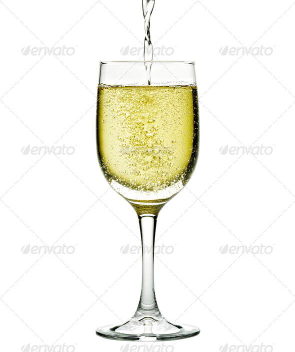 Champagne in glass. Isolated on white background - Stock Photo - Images