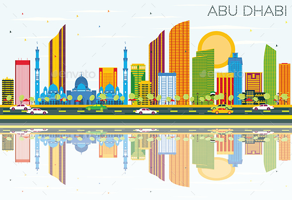 Abu Dhabi Skyline with Color Buildings, Blue Sky and Reflections - Buildings Objects