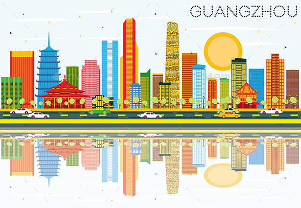 Guangzhou Skyline with Color Buildings, Blue Sky and Reflections - Buildings Objects