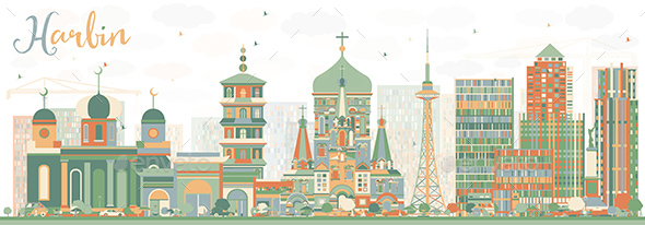 Abstract Harbin Skyline with Color Buildings - Buildings Objects