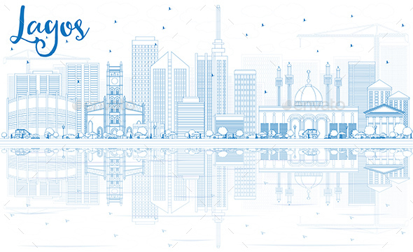 Outline Lagos Skyline with Blue Buildings and Reflections - Buildings Objects