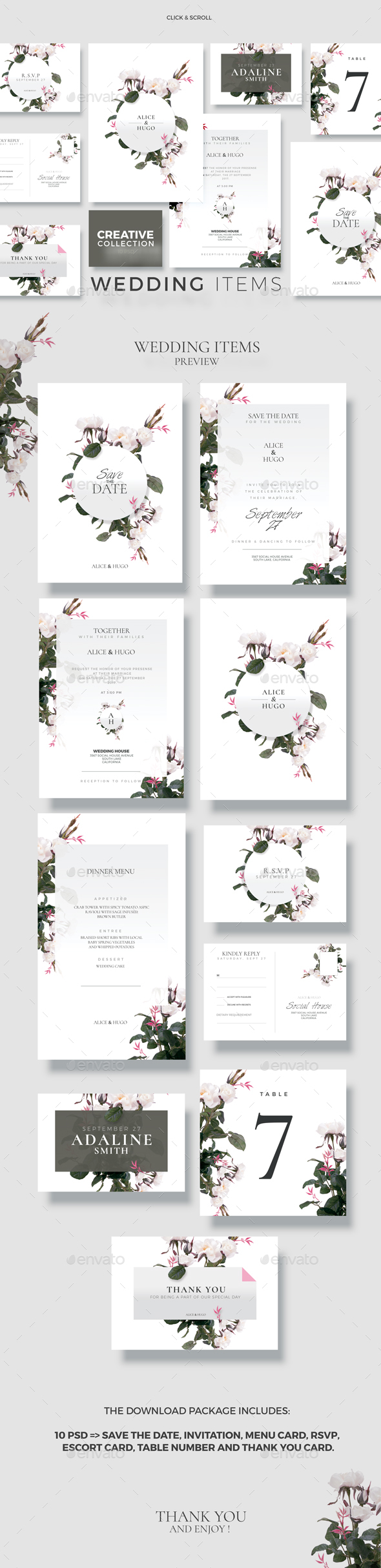 Creative Wedding Collection - 10 - Cards & Invites Print Templates