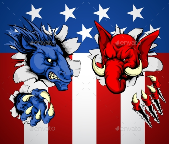 Politics Republican Democrat Concept - Miscellaneous Vectors