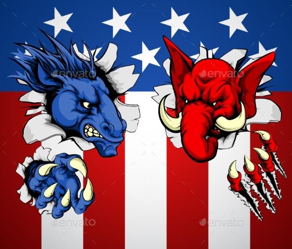 Politics Republican Democrat Concept - Miscellaneous Vectors