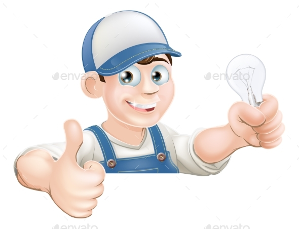 Electrician Giving Thumbs Up - People Characters