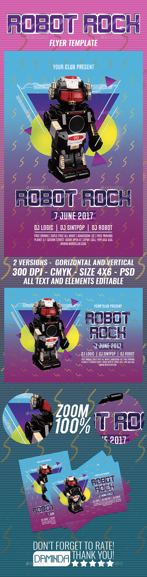 Robot Rock 2 Flyer Template - Clubs & Parties Events