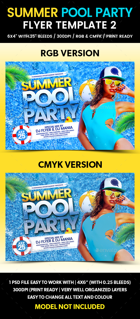 Summer Pool Party Flyer Template 2 - Flyers Print Templates