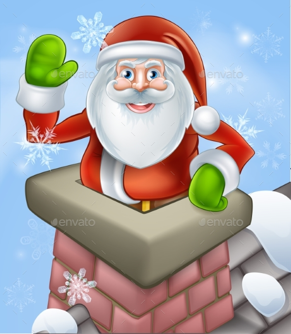 Santa in Chimney - Seasons/Holidays Conceptual
