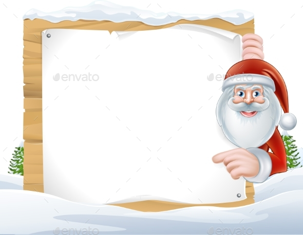 Christmas Cartoon Santa Claus Sign - Miscellaneous Vectors