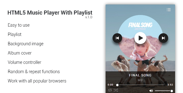 HTML5 Music Player With Playlist - CodeCanyon Item for Sale