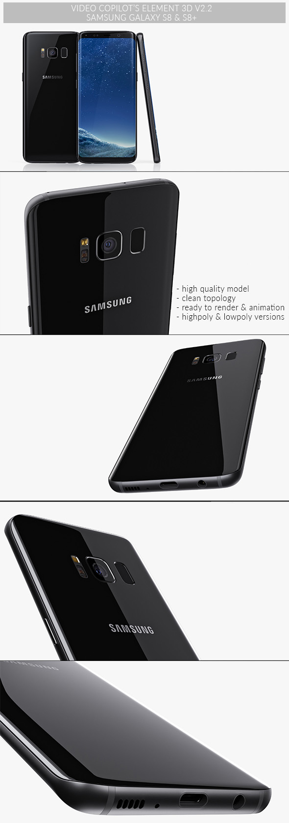Samsung Galaxy S8 & S8+  - Element 3D - 3DOcean Item for Sale