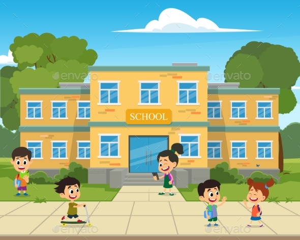 School Building and Children in the Front Yard. - Miscellaneous Vectors