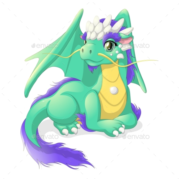 Pretty Green Dragon - Animals Characters