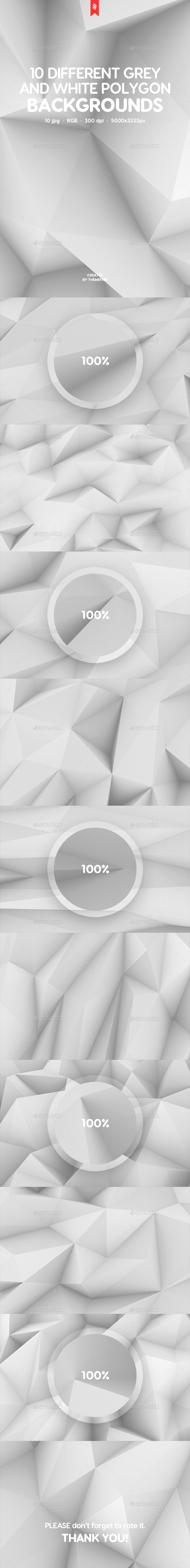 10 Different Grey and White Polygon Backgrounds - Abstract Backgrounds