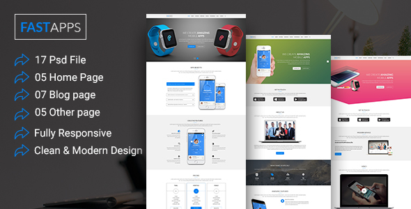 FASTAPPS Creative Mobile Apps Multiplepurpose HTML5 Template