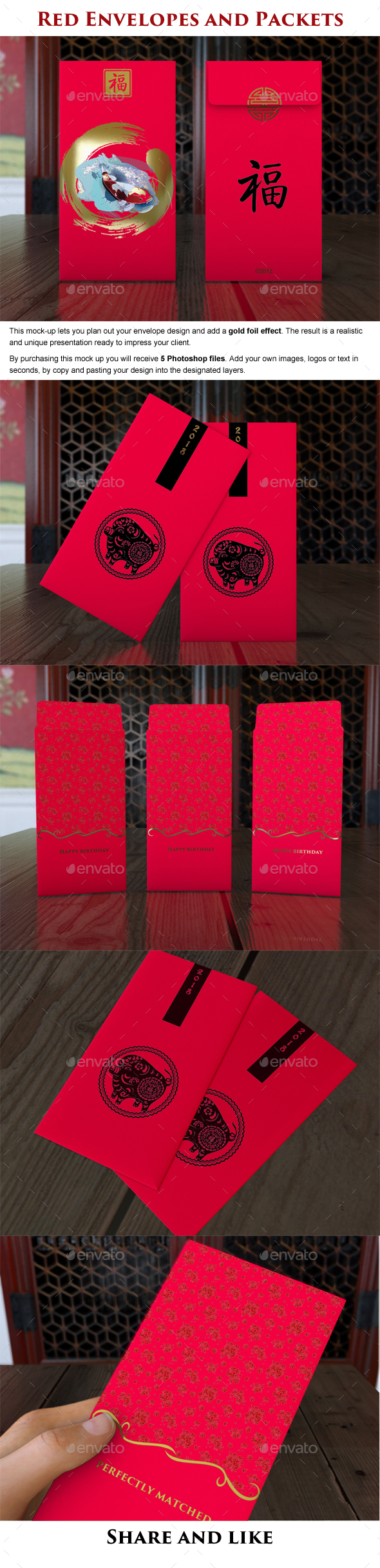 Red Envelopes and Packets - Product Mock-Ups Graphics