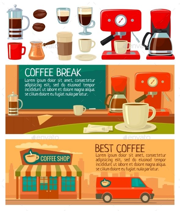 Set Banners for Coffee Service in Shop and Cafe - Miscellaneous Vectors