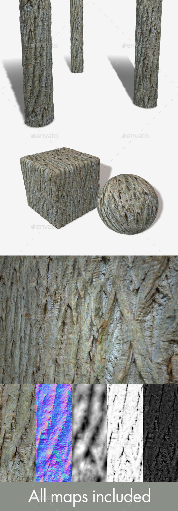Spiky Bark Seamless Texture - 3DOcean Item for Sale