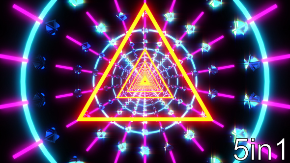 Triangle Neon Lights Tunnel Vj Loop By Redcrystals Videohive