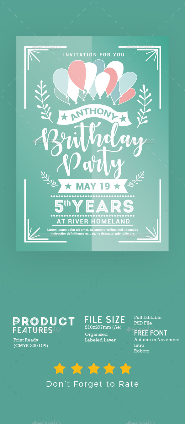 Birthday Party Invitation - Events Flyers