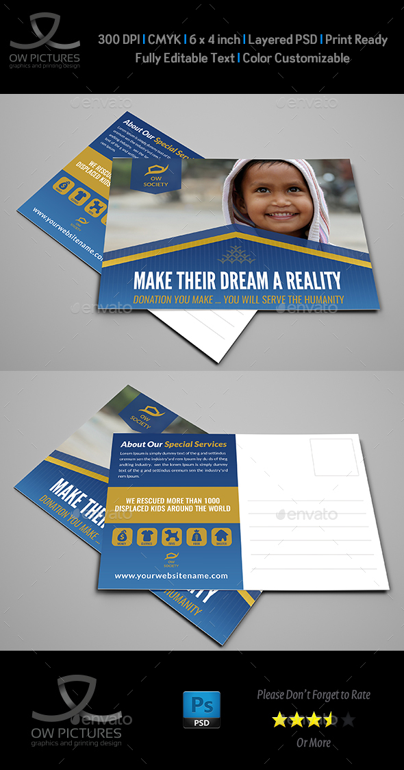 Kids Charity Postcard Template Vol.2 - Cards & Invites Print Templates