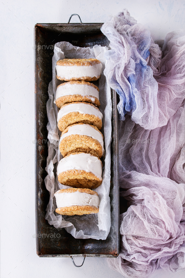 Ice cream sandwiches in cookies - Stock Photo - Images