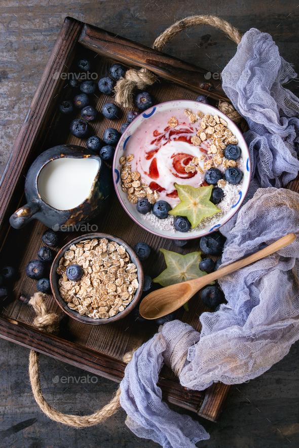 Yogurt smoothie bowl - Stock Photo - Images