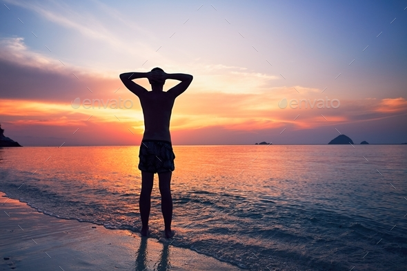 Contemplation on the tropical beach - Stock Photo - Images