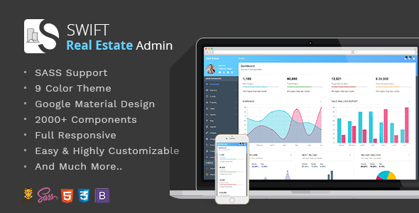 Swift Real Estate – Bootstrap/Material Dashboard Template