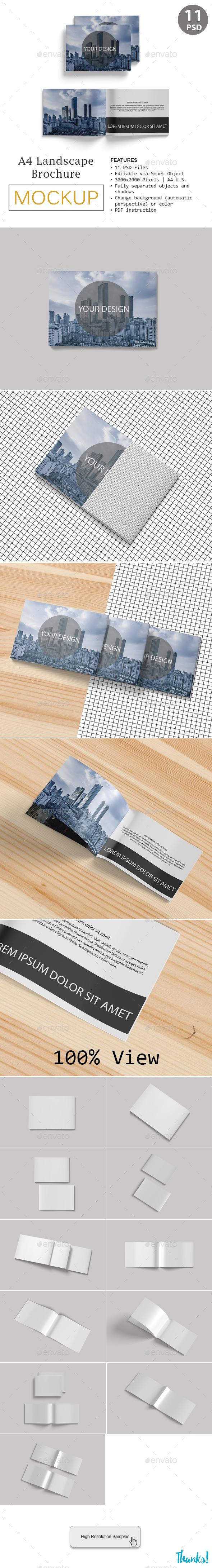 A4 Landscape Brocure Mockup - Product Mock-Ups Graphics