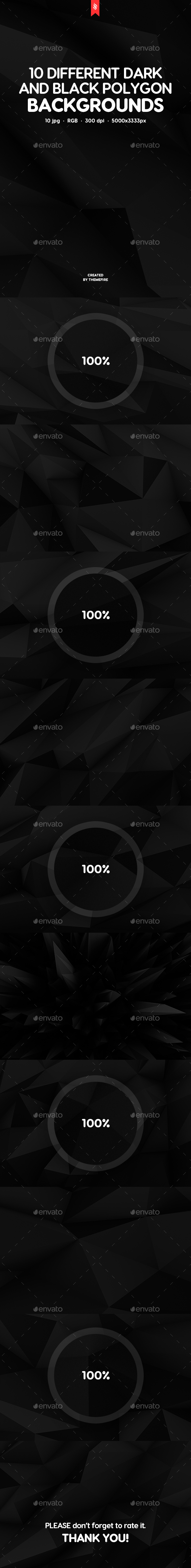 10 Different Dark and Black Polygon Backgrounds - Abstract Backgrounds