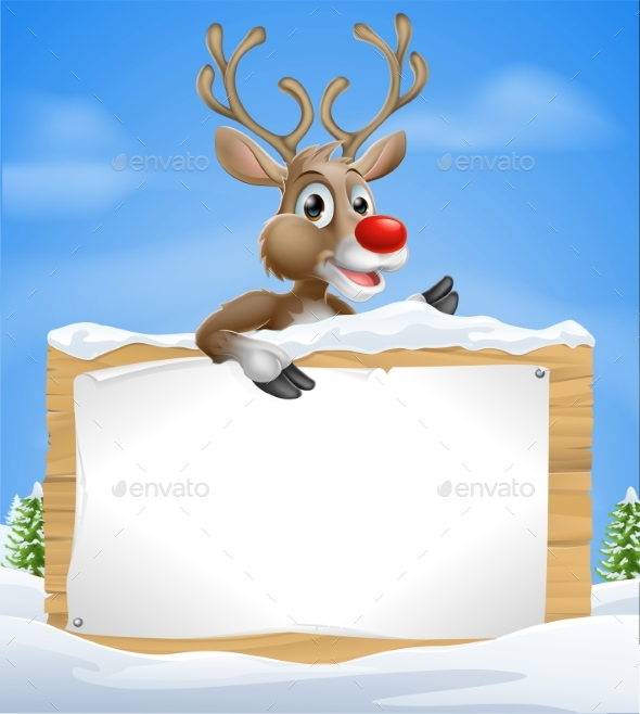 Christmas Cartoon Reindeer Sign - Miscellaneous Vectors
