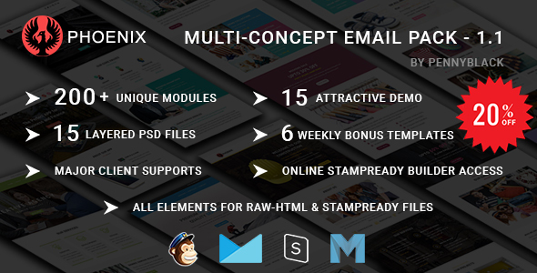 PHOENIX – Multi-Concept Responsive Email Pack – Newsletters + Notifications