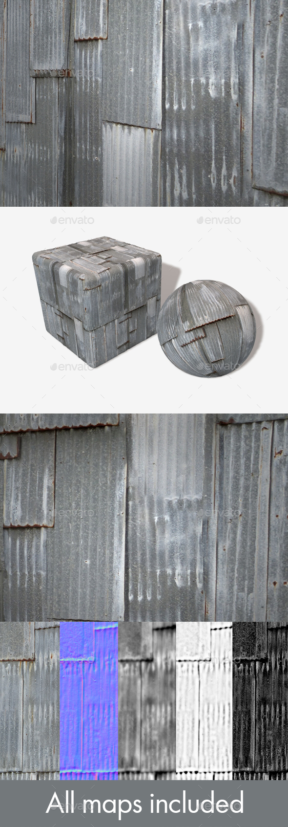 Corrugated Iron Panels Seamless Texture - 3DOcean Item for Sale
