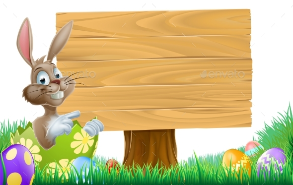 Easter Bunny Sign - Animals Characters