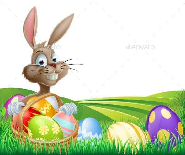 Easter Bunny and Hamper - Animals Characters