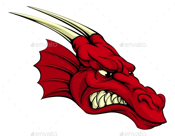 Red Dragon Mascot - Monsters Characters