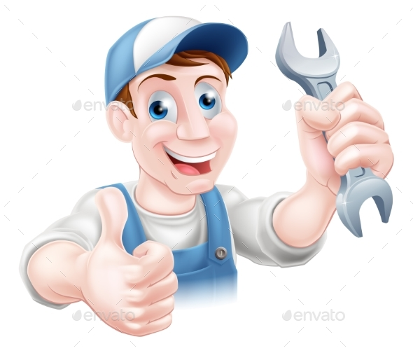 Mechanic Holding Spanner - People Characters