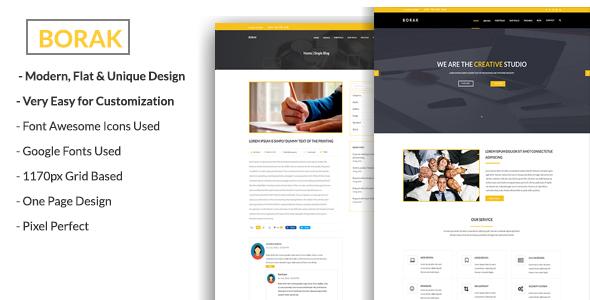BORAK Material Design Business PSD Template - PSD Templates