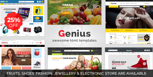 Genius | Organic Shop, Fashion,Jewellery, & Electronics Store Responsive HTML Template