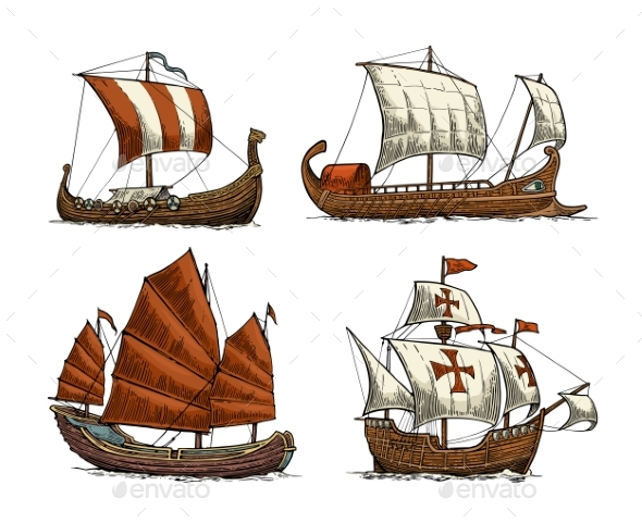 Set of Sailing Ships - Man-made Objects Objects