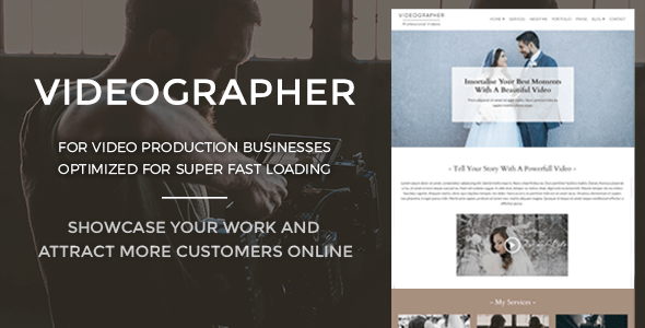 Videographer - Video Production WordPress Theme - Photography Creative