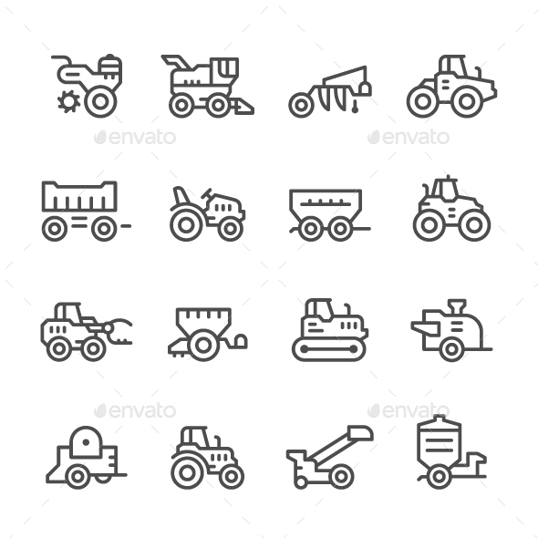 Set Line Icons of Agricultural Machinery - Man-made objects Objects