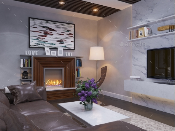 3d Render of the Interior Design Living Room. - Architecture 3D Renders