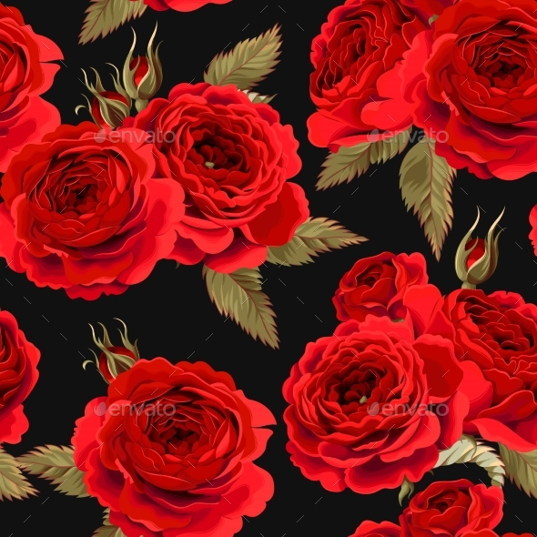 English Roses Seamless Pattern - Backgrounds Decorative