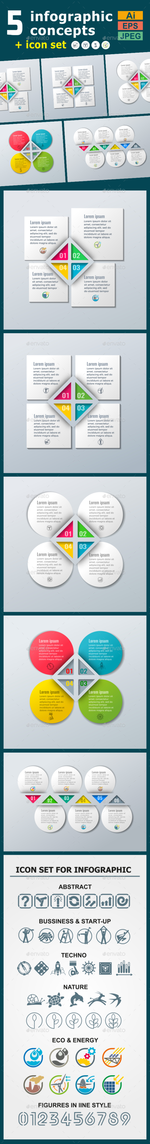 Infographic Templates in Paper Style. v.06 - Infographics