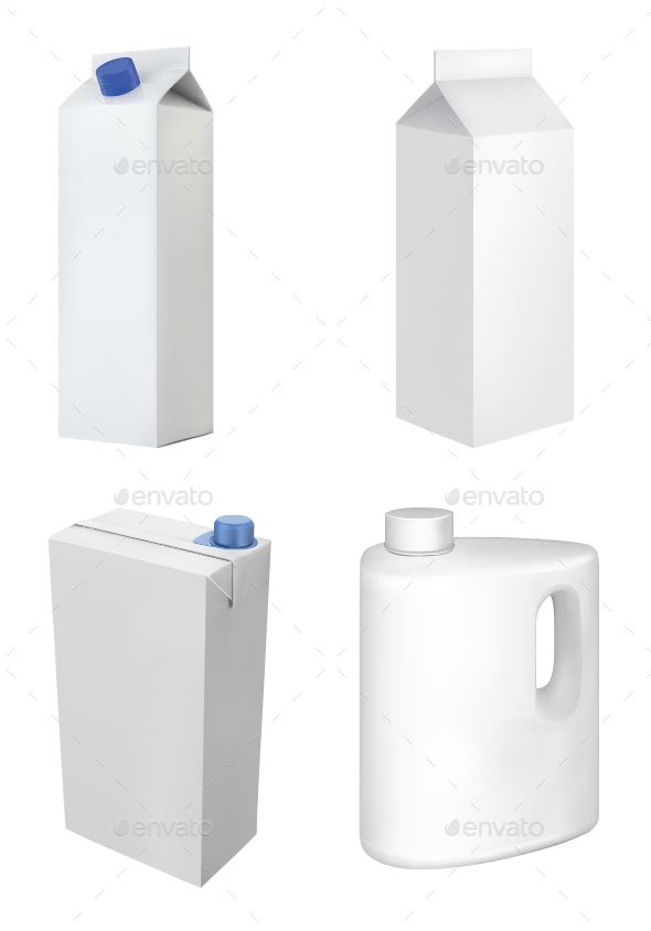 Paper Milk Product Container Set - Man-made Objects Objects