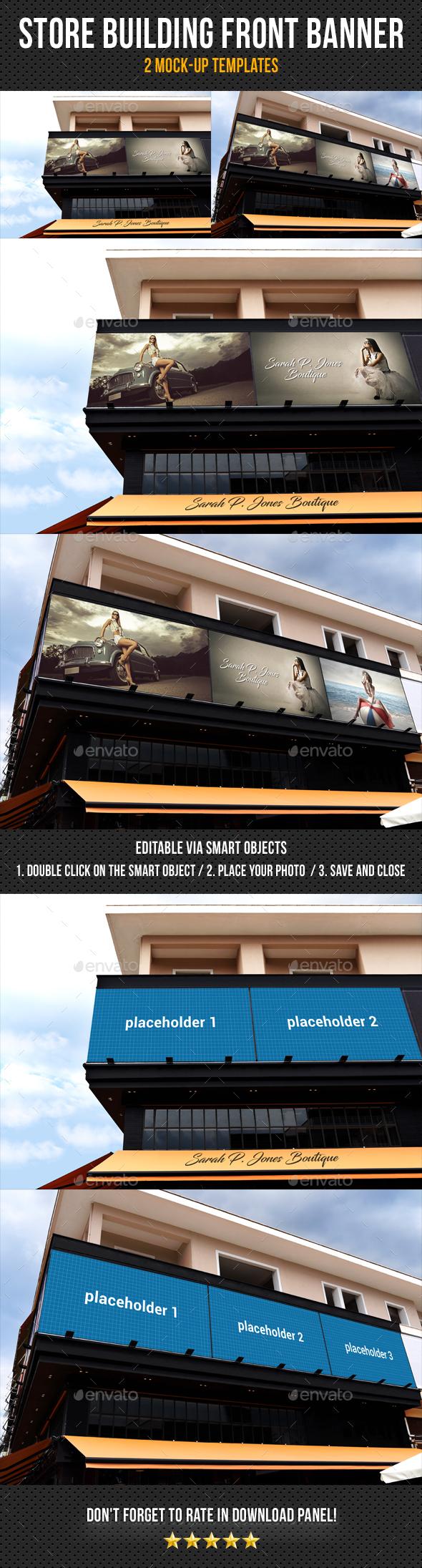 Store Building Front Banner Mock-Up Pack - Signage Print
