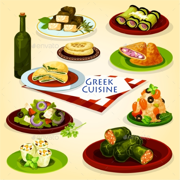 Greek Cuisine Healthy Lunch Cartoon Poster - Food Objects